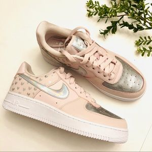 New pink/silver custom w hearts Air Force 1 size 7